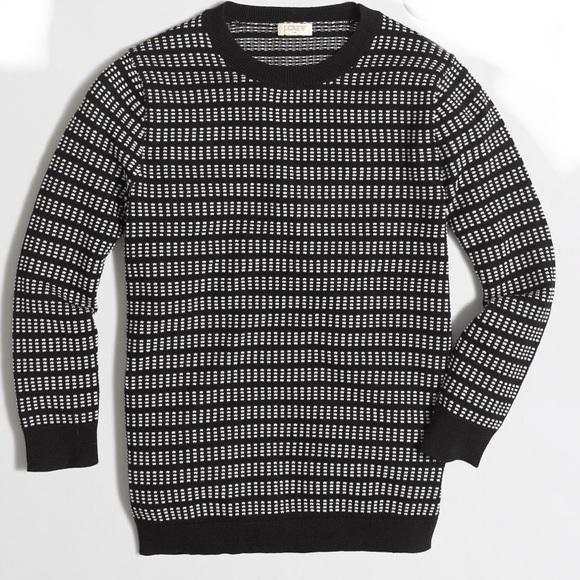 J Crew 34 Sleeve Grid Stitch Sweater Black M